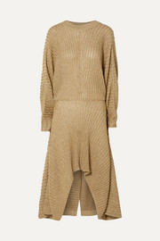 Chloé Asymmetric ribbed Lurex midi dress