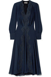 Chloé Lace-trimmed silk crepe de chine midi dress
