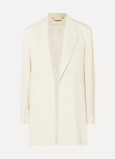 CHLOE | Chloé - Belted Pinstriped Woven Blazer - Cream | Goxip