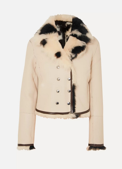 Reversible Double-Breasted Shearling Jacket in Ivory