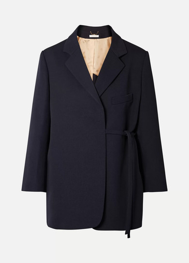 CHLOE | Chloé - Oversized Asymmetric Wool-blend Twill Blazer - Navy | Goxip