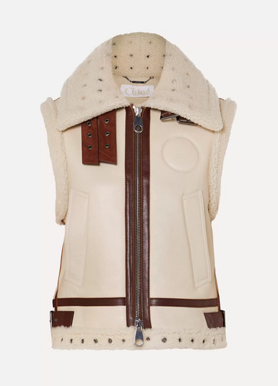 ea9cb1754c Suede and leather-trimmed shearling vest