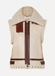 Suede and leather-trimmed shearling vest