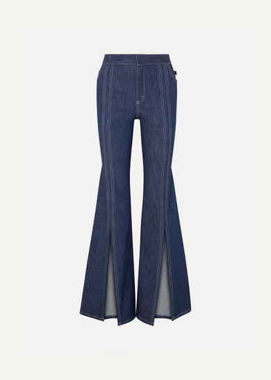 Soft Denim Front Slit Flare Jeans in Indigo