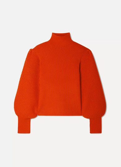 Balloon-Sleeve High-Neck Chunky Wool-Blend Sweater in Tomato Red
