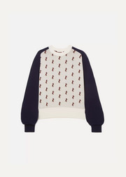 Studded jacquard-knit sweater