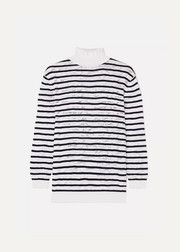 Chloé Striped cotton-blend lace turtleneck sweater