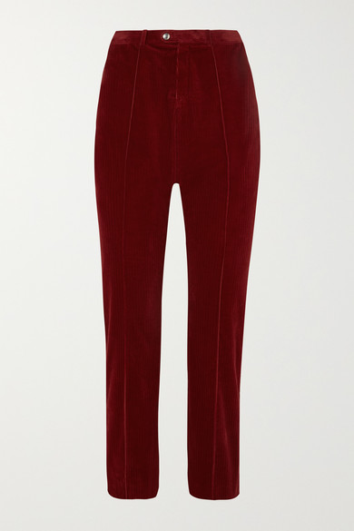 Cropped Cotton-Blend Corduroy Straight-Leg Pants in Burgundy