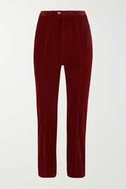 Cropped cotton-blend corduroy straight-leg pants