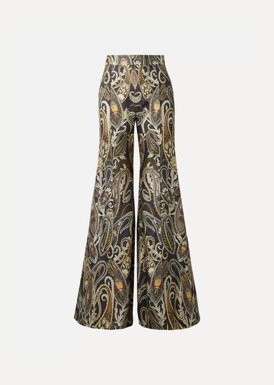 CHLOE | Chloé - Metallic Silk-blend Jacquard Flared Pants - Navy | Goxip