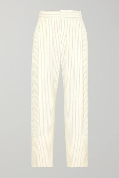 CHLOE   Chloé - Cropped Pinstriped Woven Tapered Pants - Cream   Goxip