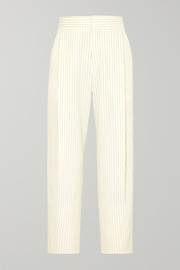Cropped pinstriped woven tapered pants