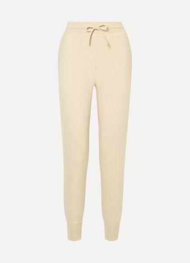 CHLOE | Chloé - Metallic Intarsia Cashmere Track Pants - Off-white | Goxip