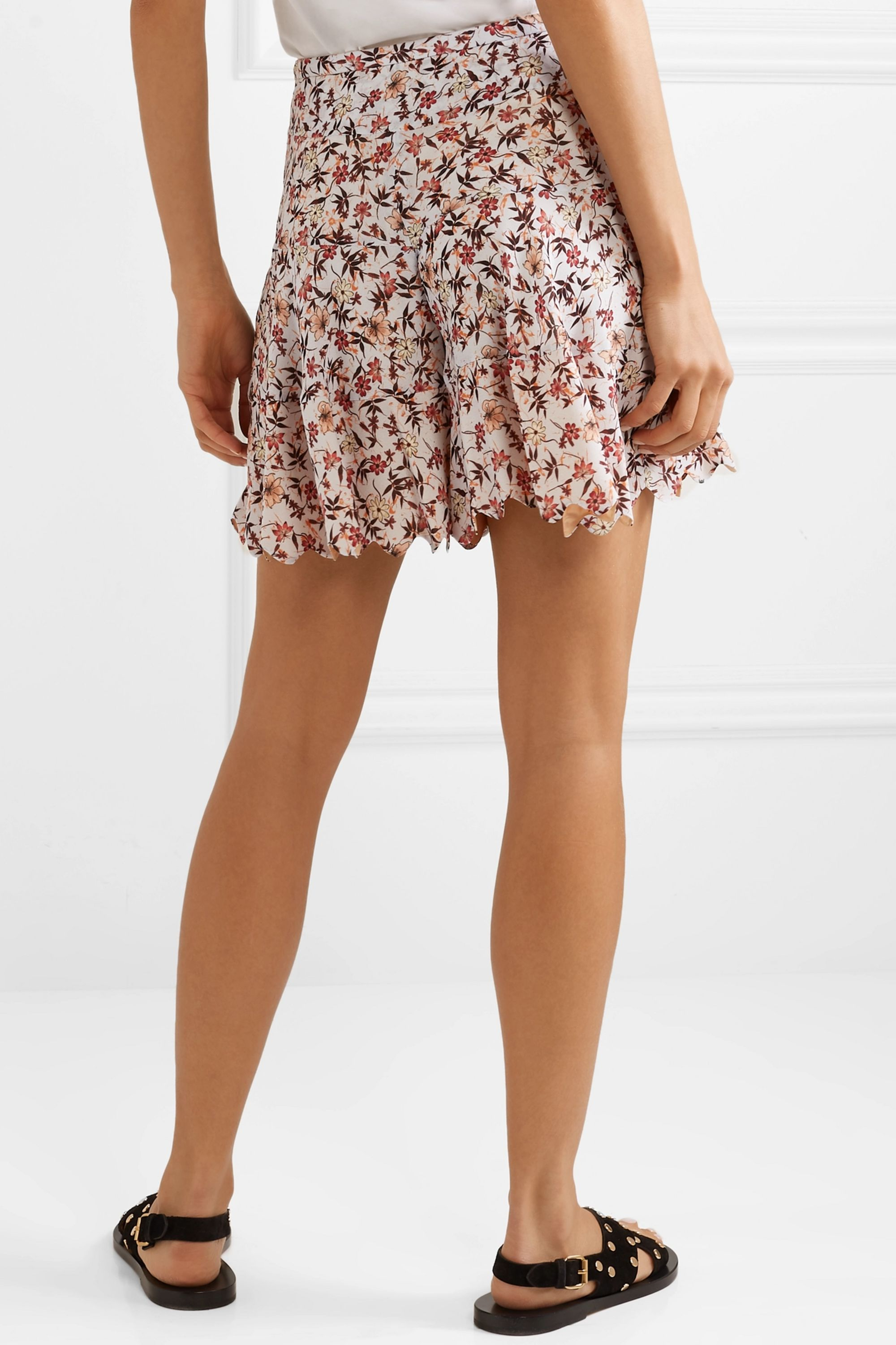 Chloé Scalloped floral-print georgette shorts