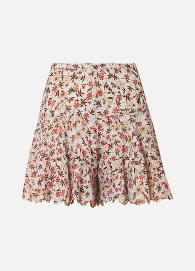 CHLOE | Chloé - Scalloped Floral-print Georgette Shorts - Off-white | Goxip