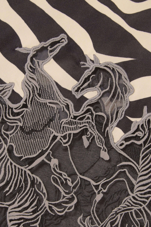 Chloé Lace-trimmed zebra-print satin midi skirt