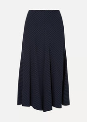 Chloé Asymmetric pinstriped woven midi skirt