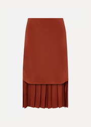 Chloé Asymmetric pleated silk-crepe skirt