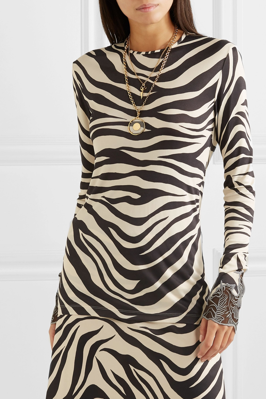 Chloé Lace-trimmed zebra-print satin top