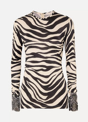 Lace-trimmed zebra-print satin top