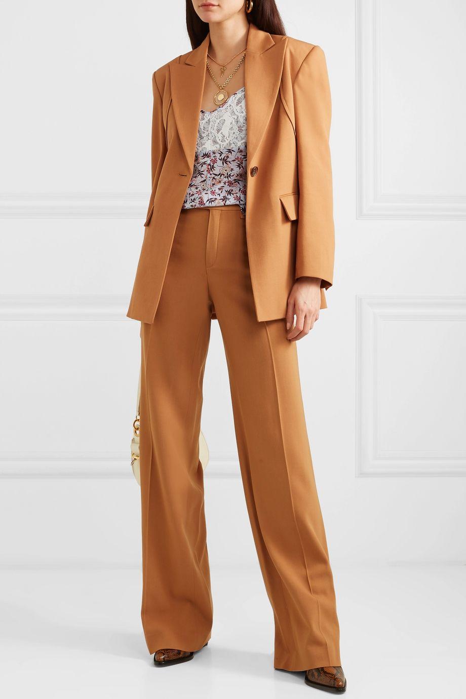 Chloé Lace-paneled floral-print georgette camisole