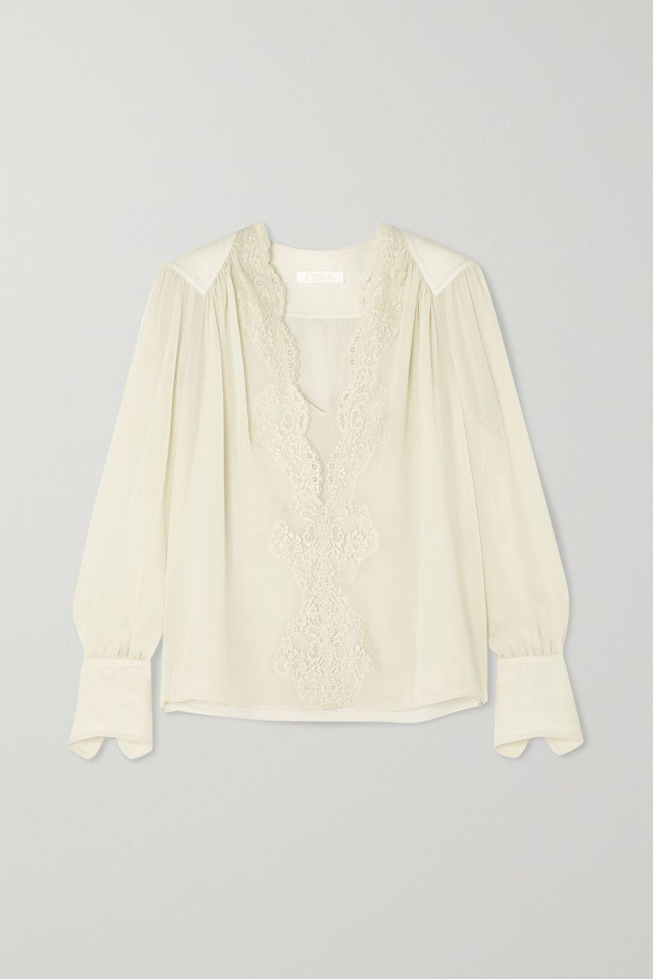 Chloé Lace-trimmed silk-chiffon blouse