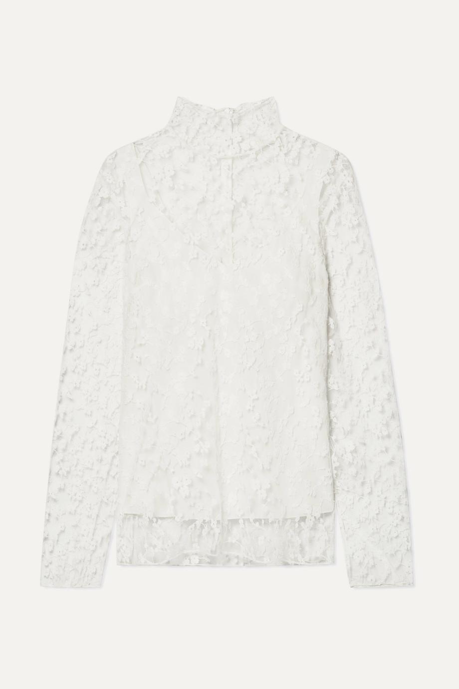 Chloé Cotton-blend lace turtleneck blouse