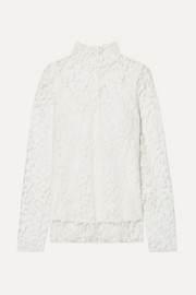 Chloé Cotton-blend lace turtleneck blouse