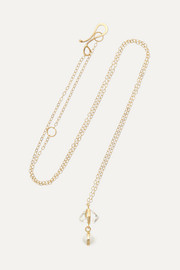 14-karat gold, Herkimer diamond and pearl necklace