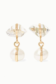 Melissa Joy Manning 14-karat gold, Herkimer diamond and pearl earrings