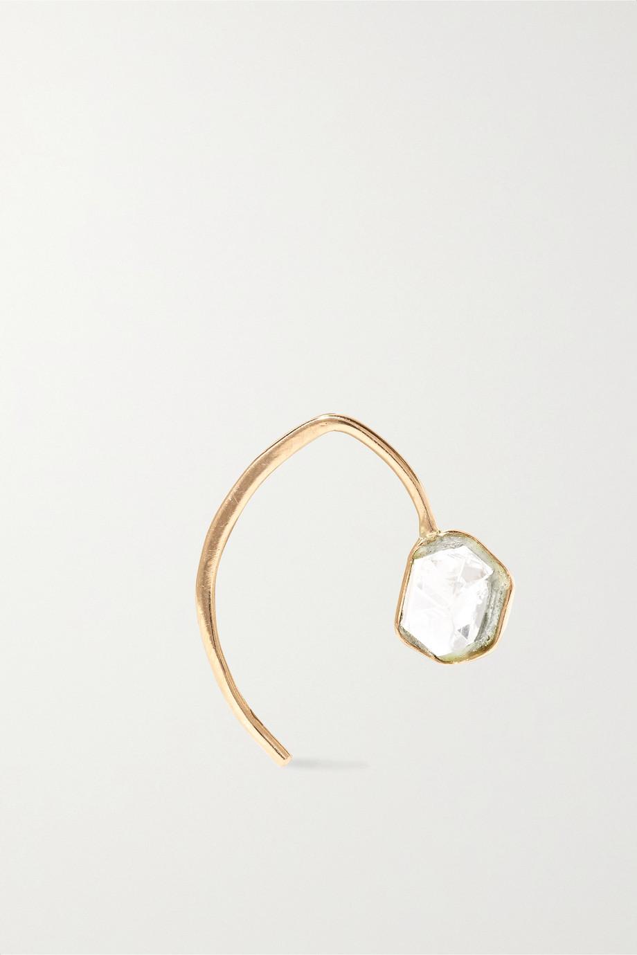 Melissa Joy Manning Mini Wishbone 14-karat gold Herkimer diamond earrings