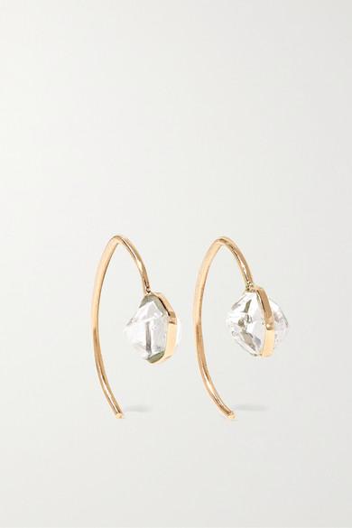 Melissa Joy Manning Mini Wishbone 14 Karat Gold Herkimer Diamond Earrings
