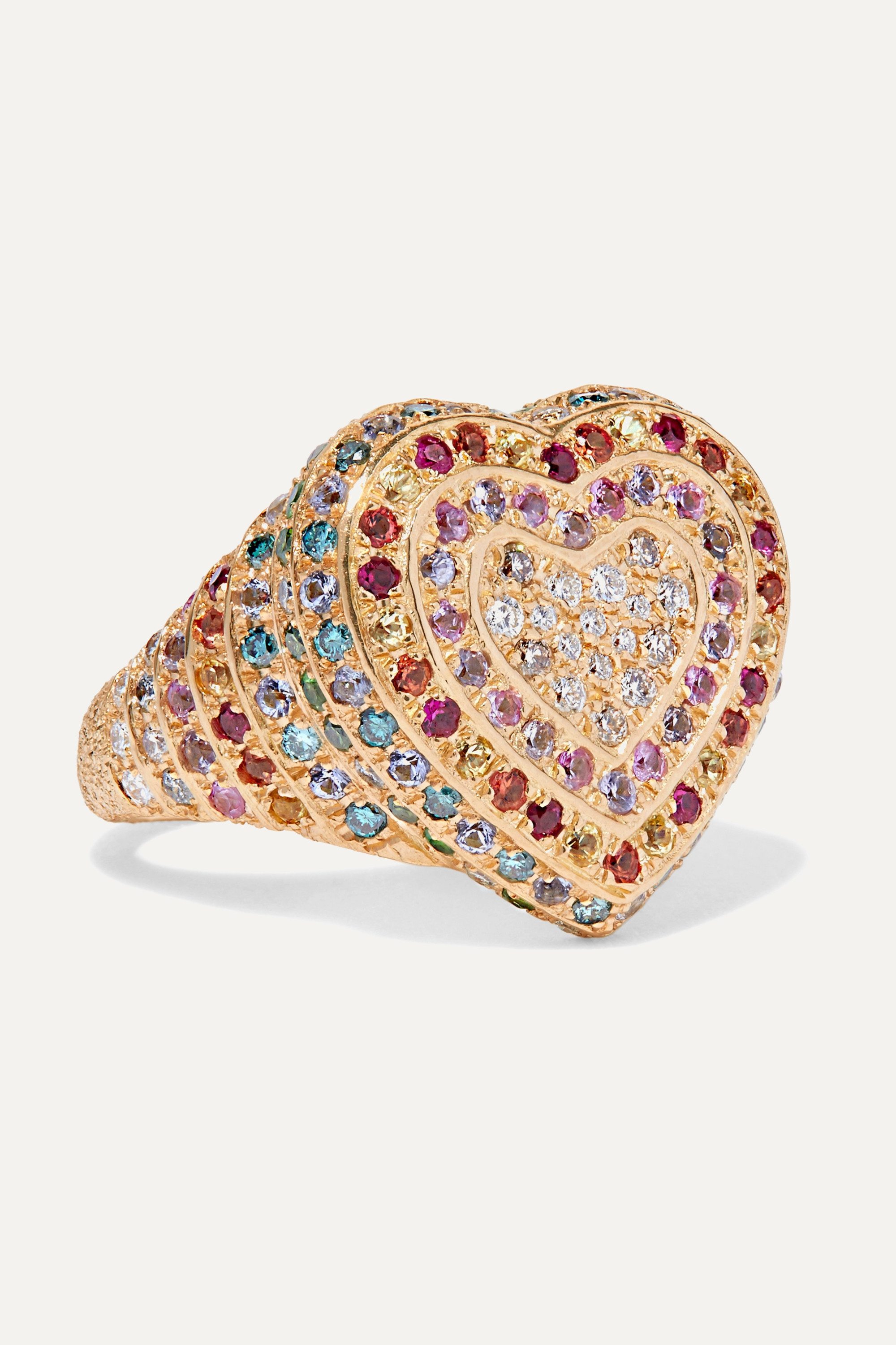 Carolina Bucci Heart 18-karat gold multi-stone ring