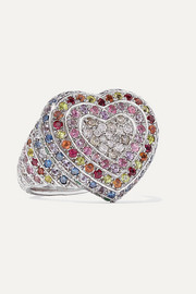 Carolina Bucci Heart 18-karat white gold multi-stone ring