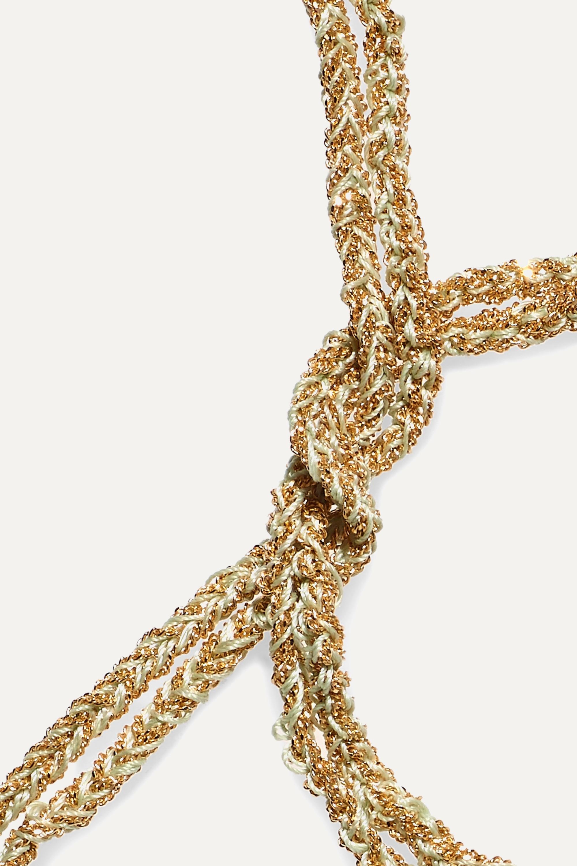 Carolina Bucci Strength Lucky Armband aus 18 Karat Gold mit Saphiren und Seide