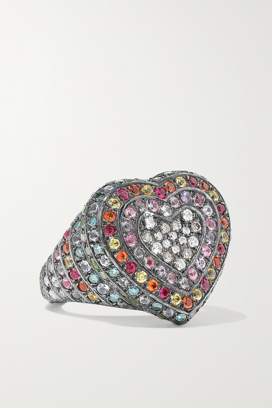 Carolina Bucci Bague en or 18 carats noirci et pierres multiples