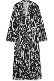 Cindy zebra-print crepe wrap dress