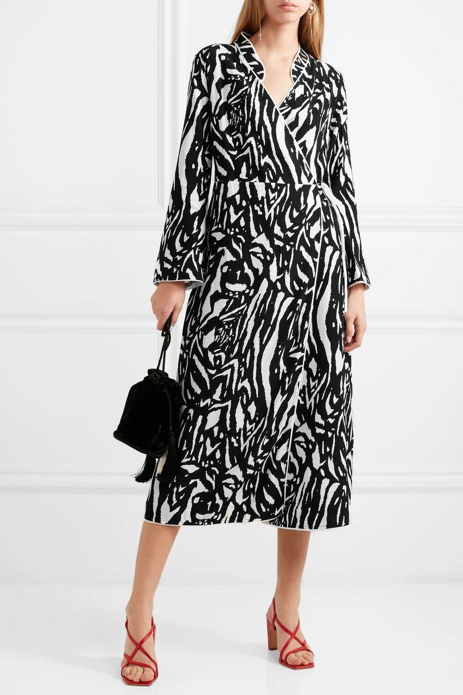 RIXO Cindy zebra-print crepe wrap dress