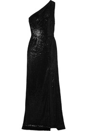 Zane one-shoulder sequined satin gown