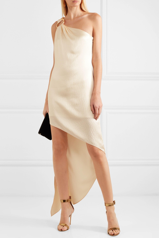 Haney Nadia one-shoulder embellished hammered silk-satin dress