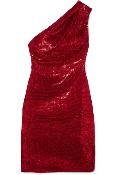 Valentina One-Shoulder Sequined Stretch-Tulle Mini Dress in Red