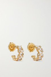 12mm 18-karat gold diamond hoop earrings
