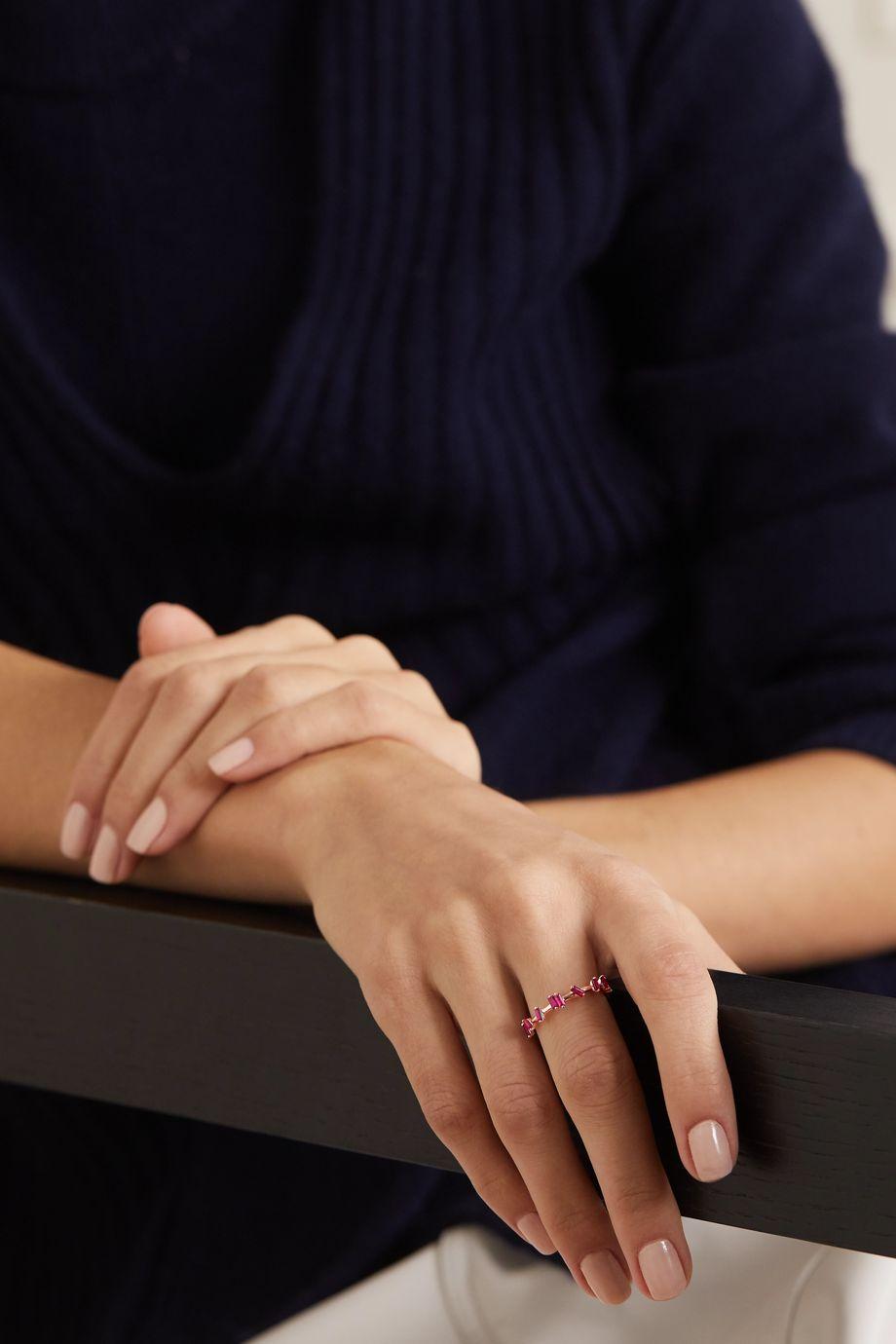 Suzanne Kalan Barbwire 18-karat rose gold ruby ring