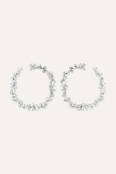 Suzanne Kalan 32MM 18-KARAT WHITE GOLD DIAMOND HOOP EARRINGS