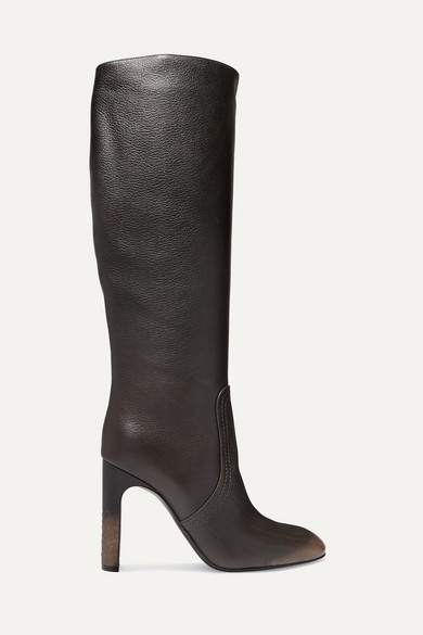 Textured-Leather Knee Boots in Brown