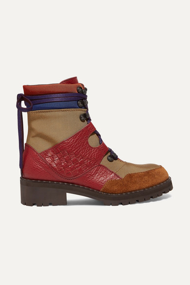Intrecciato Color-Block Canvas, Textured-Leather And Suede Ankle Boots in Red
