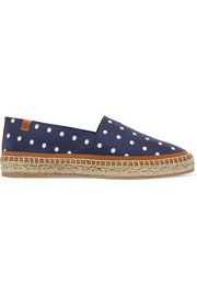 Alba leather-trimmed polka-dot faille espadrilles