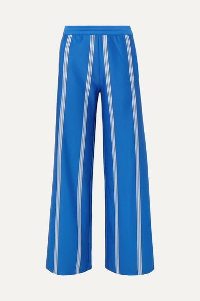 Tory Sport Knits Striped stretch-knit wide-leg track pants