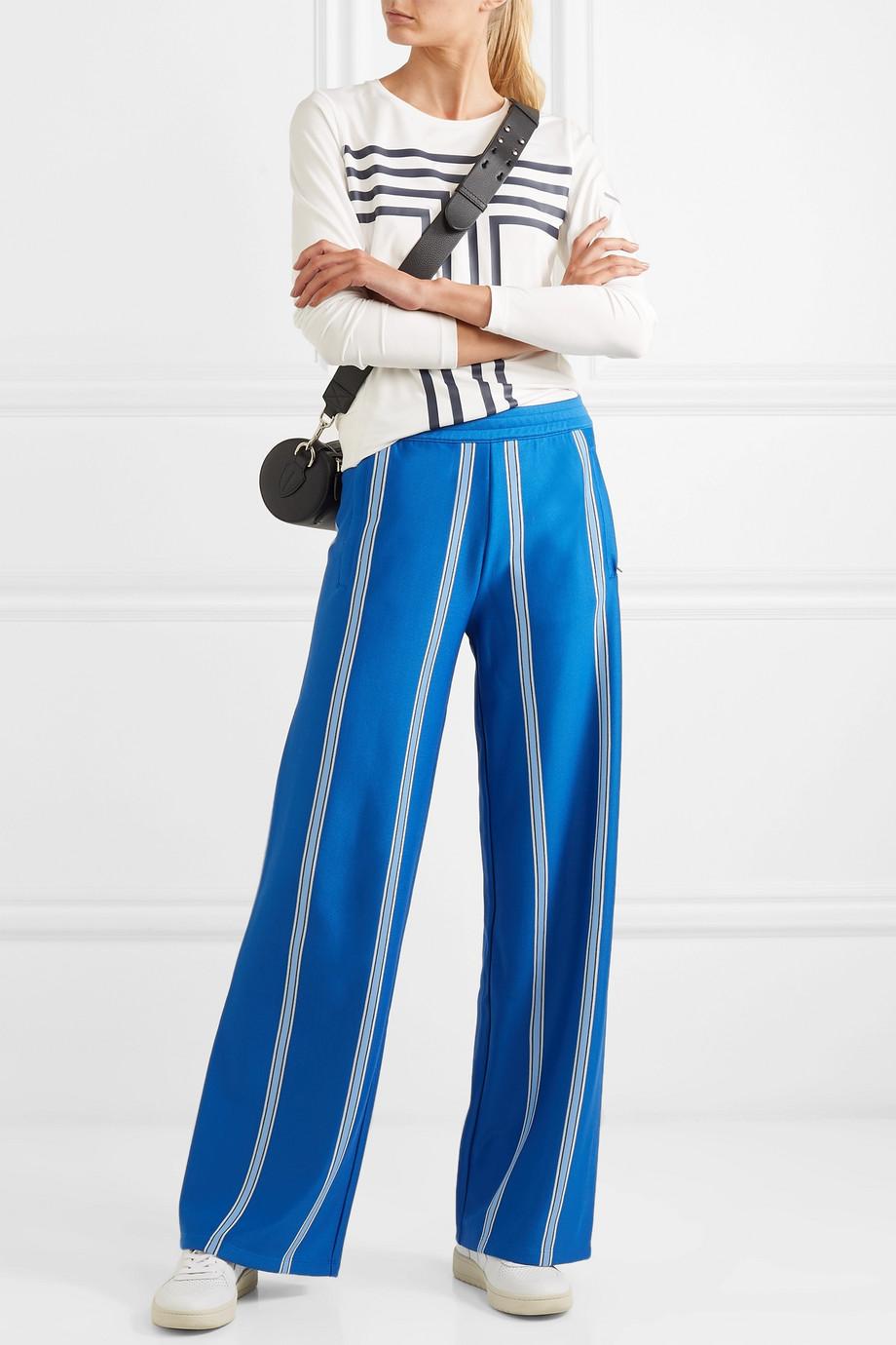 Tory Sport Striped stretch-knit wide-leg track pants