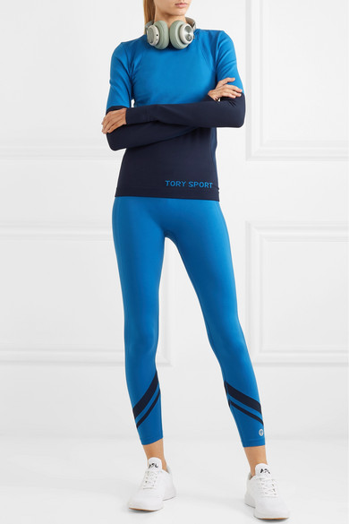 Tory Sport Knits Two-tone stretch-knit top